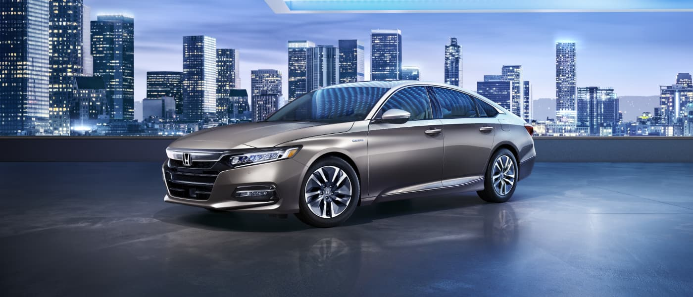 2020 Honda Accord Hybrid overlooking a city