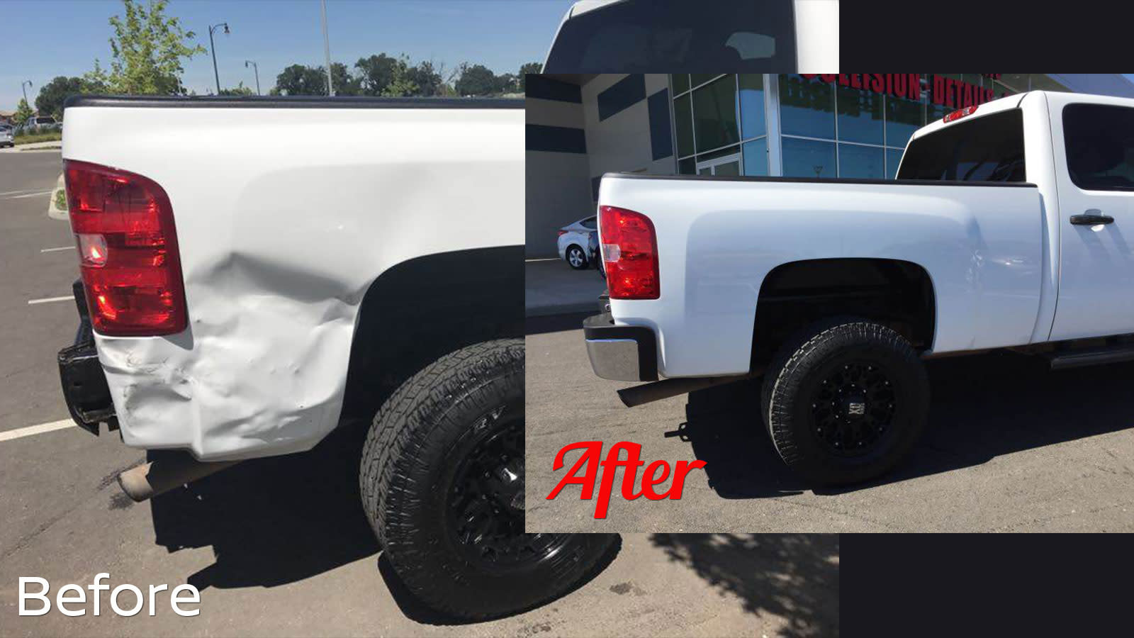 Before and After truck damaged photos