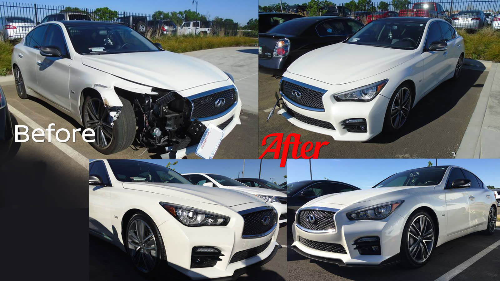 Before and after Infiniti sedan repaired