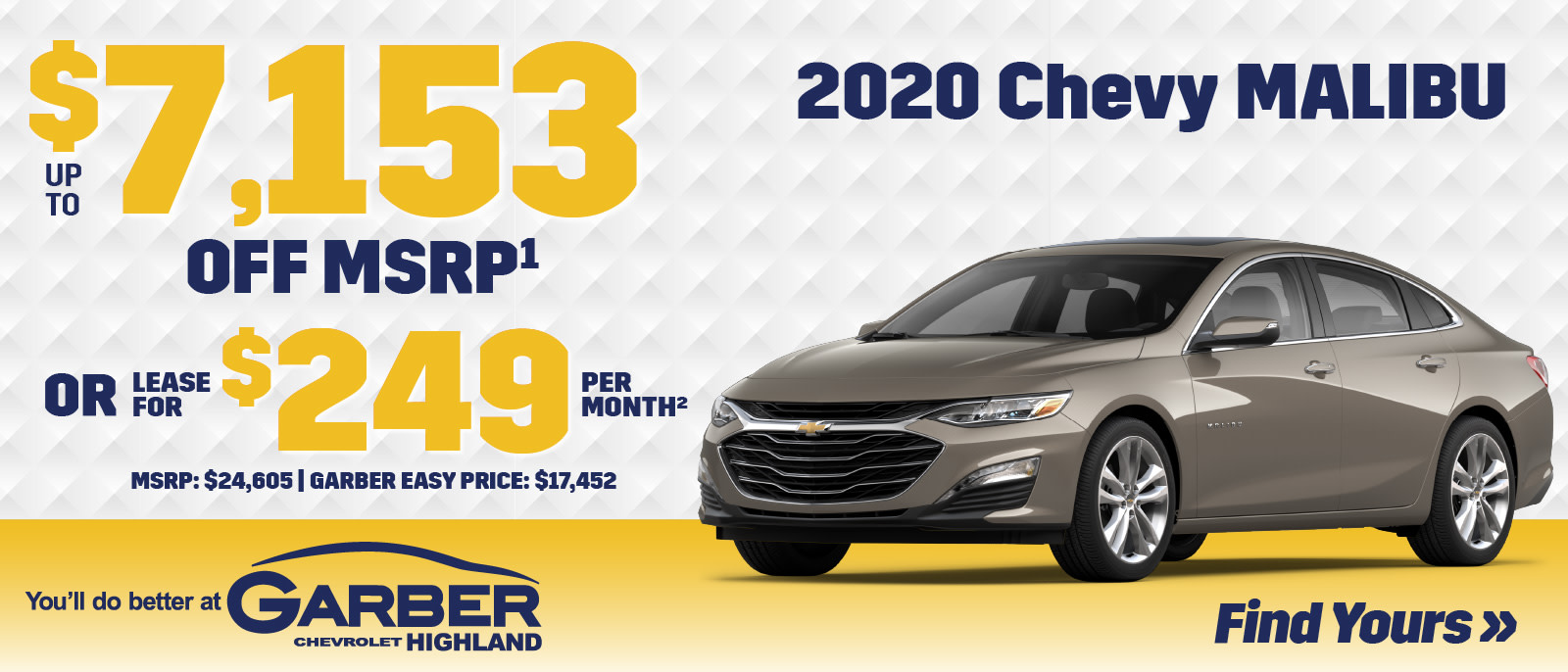 2020 Chevy Malibu | SAVE up to $7153 off MSRP or Lease for $249 per month| MSRP $24605 | GARBER EASY PRICE $17,452