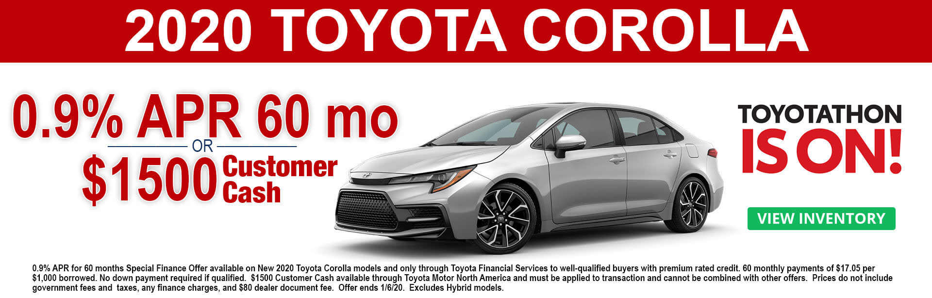 2020 Toyota Corolla APR and Cash Offer - Toyotathon