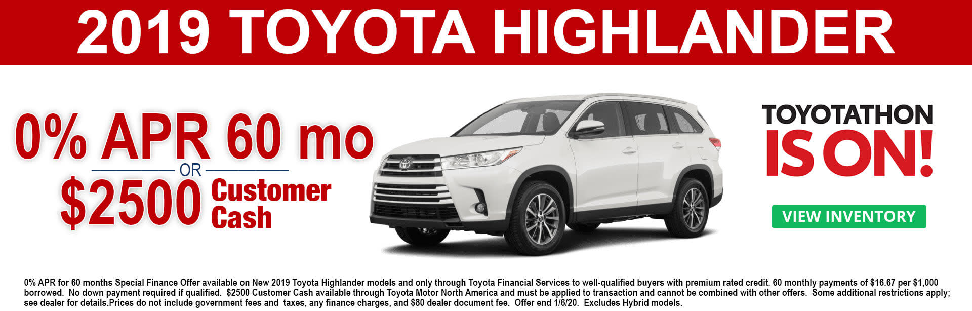 2019 Toyota Highlander APR and Cash Offer