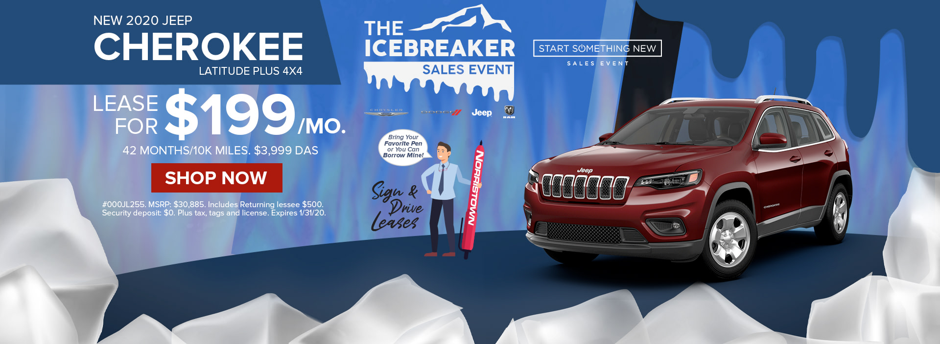 Lease a 2020 Jeep Cherokee for only $199 / month at Norristown