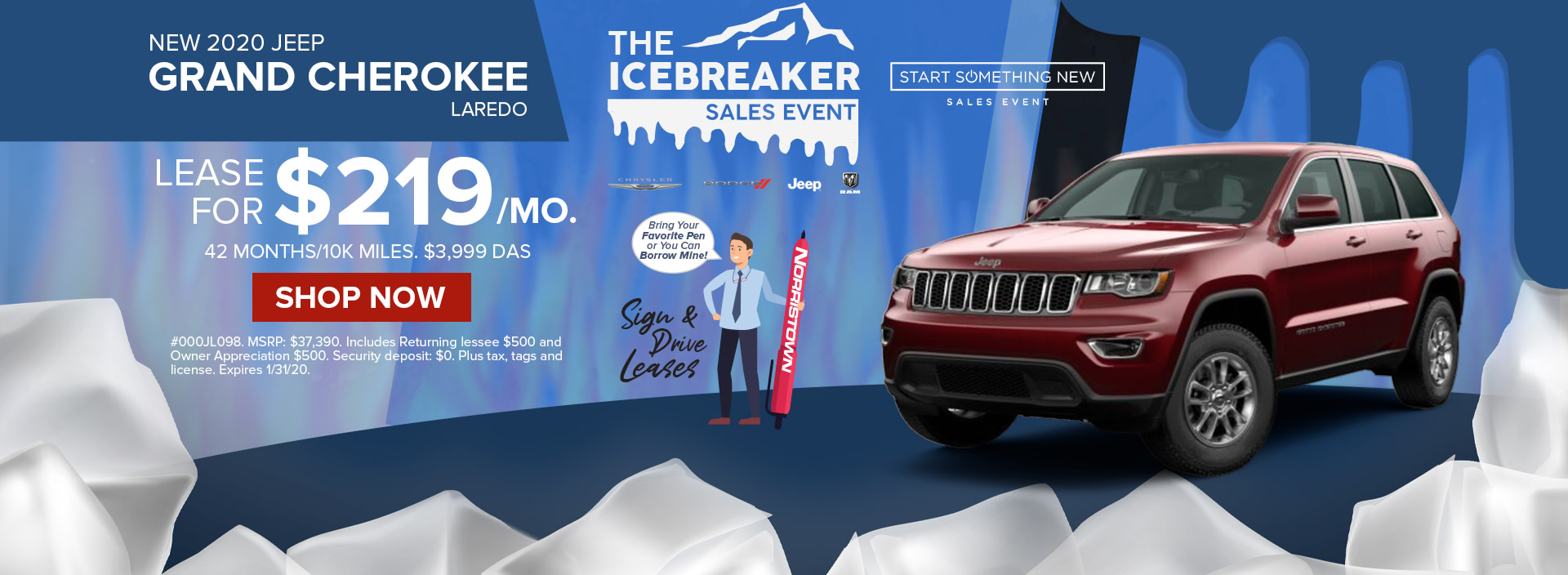 Lease a 2020 Jeep Grand Cherokee for only $219 / month at Norristown