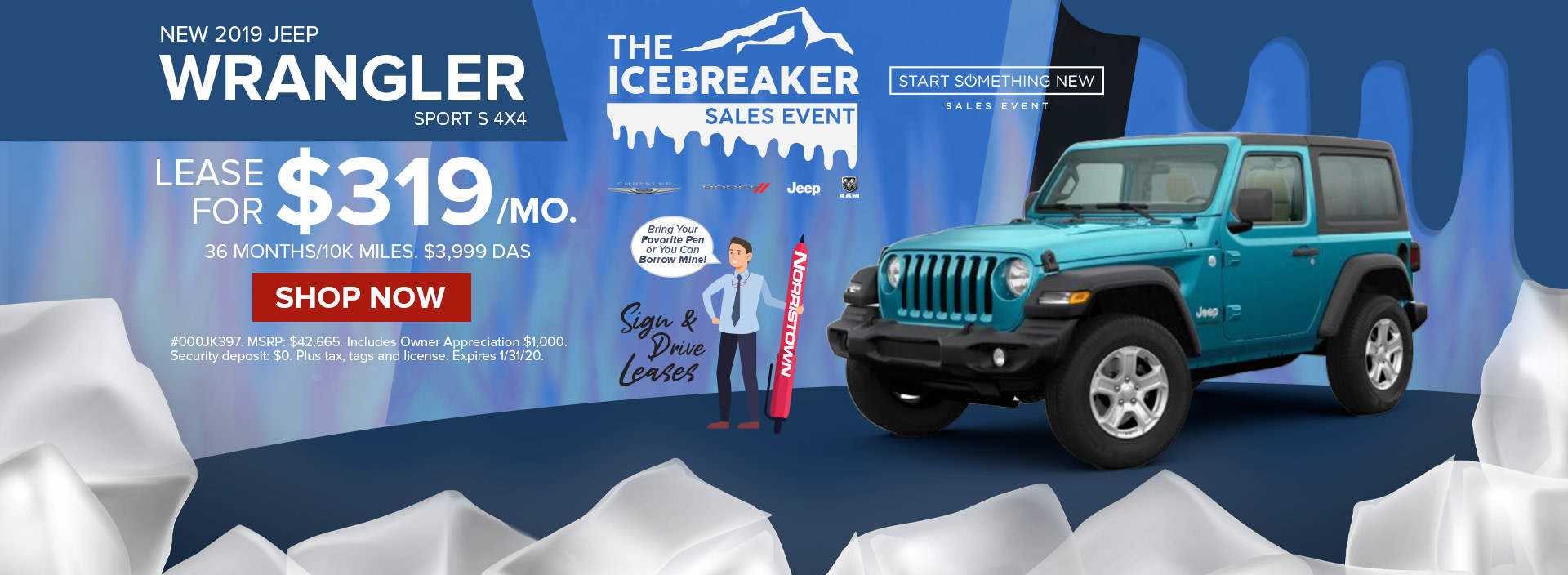 Lease a 2019 Jeep Wrangler for only $ 319/ month at Norristown!