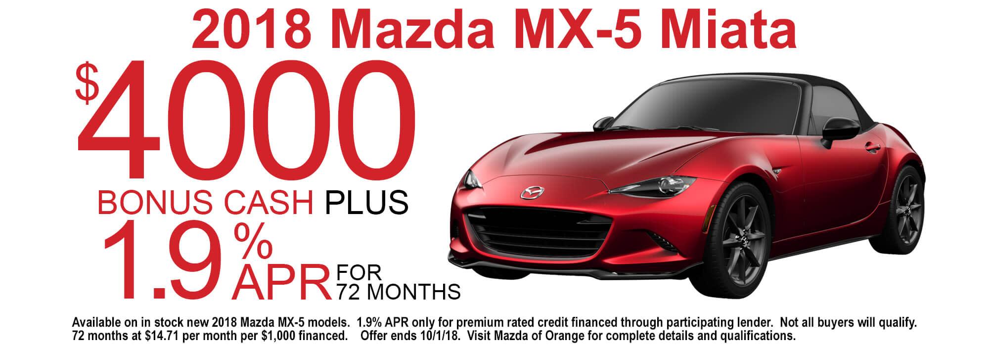 2018 Mazda Miata Special Offer