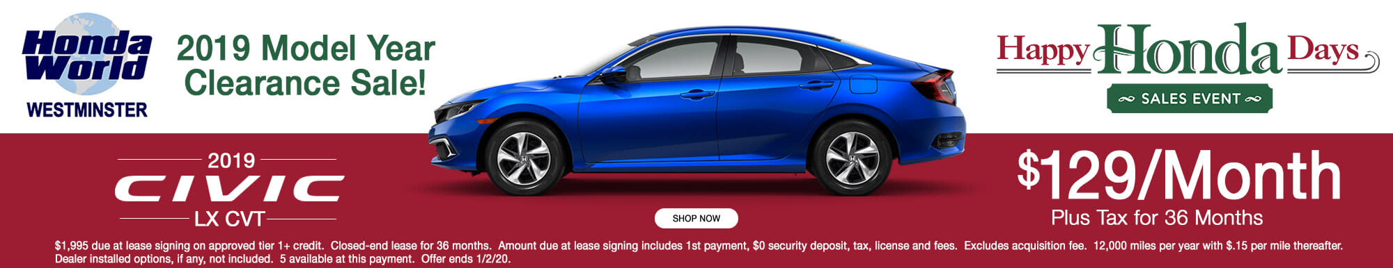 2019 Honda Civic LX Lease Offer $129 a month