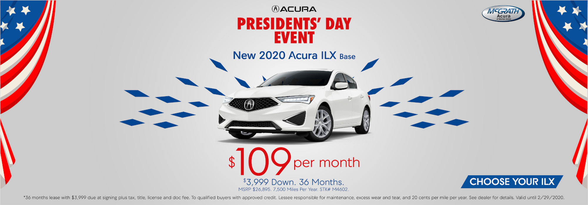 New 2020 Acura ILX Base for $109 per month and $3999 down for 36 months