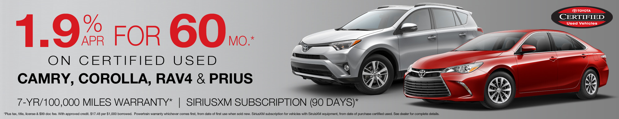 Toyota Certified Used Vehicle Special Financing