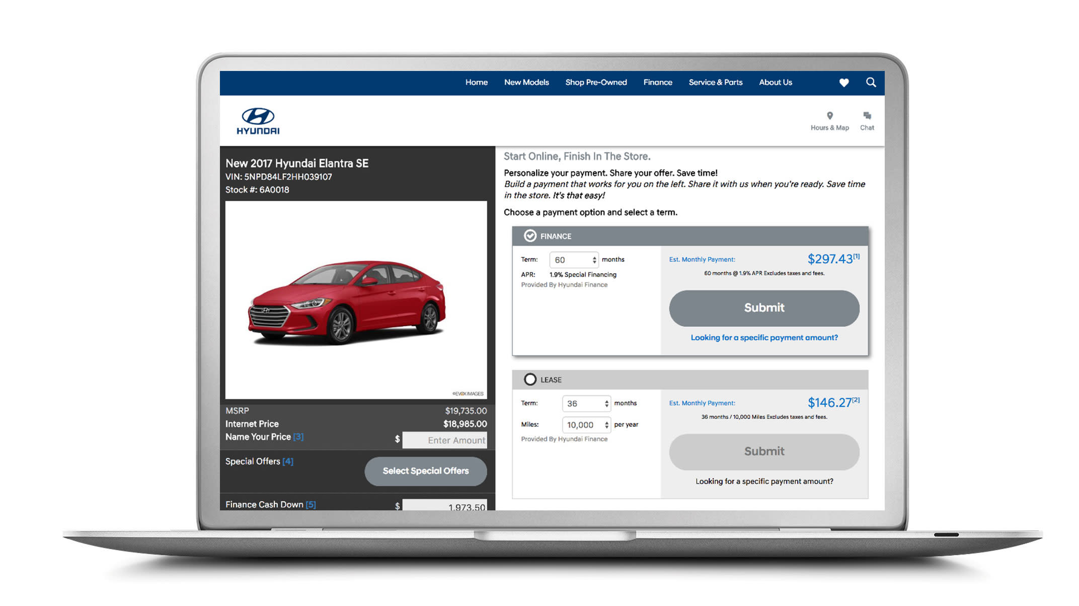 Hyundai website on laptop