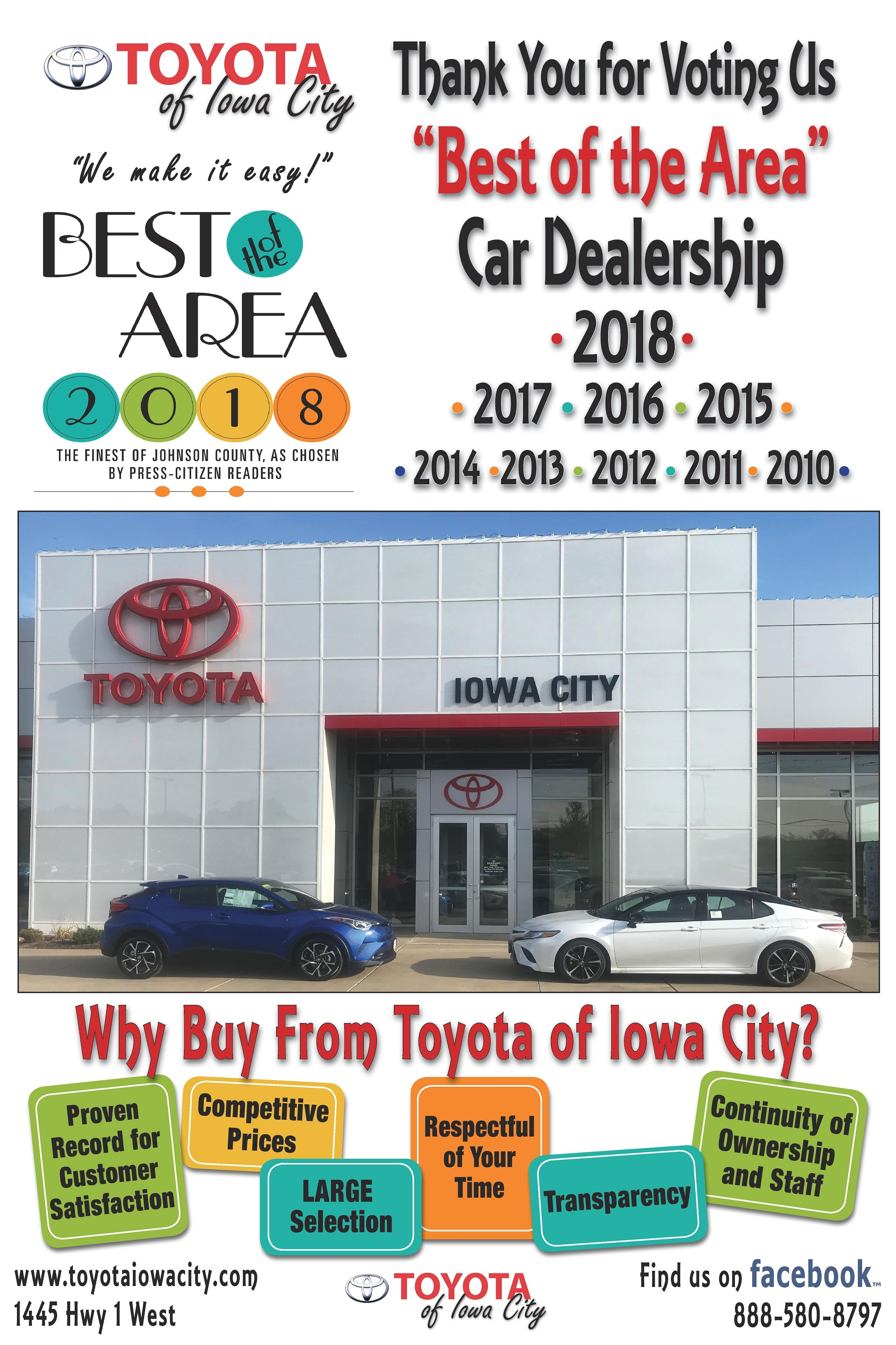 Toyota Iowa City >> Best Of The Area Toyota Of Iowa City