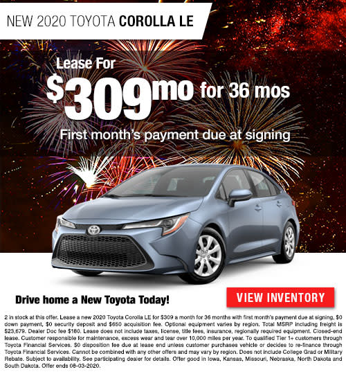 Lease for $309/Month for 36 Months on a New 2020 Toyota Corolla LE