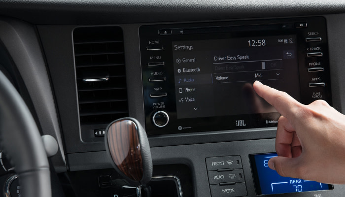 Touchscreen display inside the 2019 Toyota Sienna