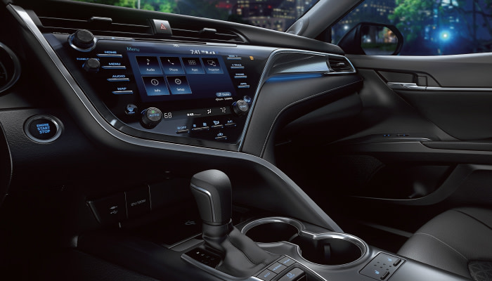 Touchscreen display inside the 2019 Toyota Camry