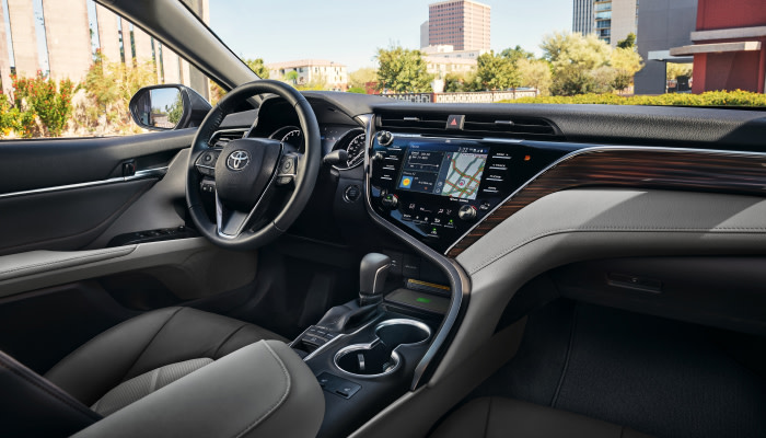 The spacious interior of the 2019 Toyota Camry