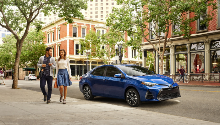 The stylish exterior of the 2019 Toyota Corolla available at Uebelhor Toyota near French Lick, IN