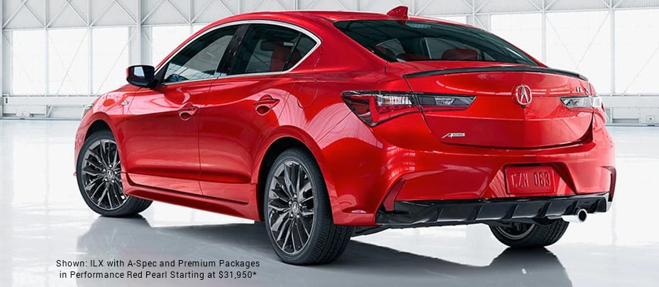 Shown: ILX with A-Spec and Premium Packages in Performance Red Pearl