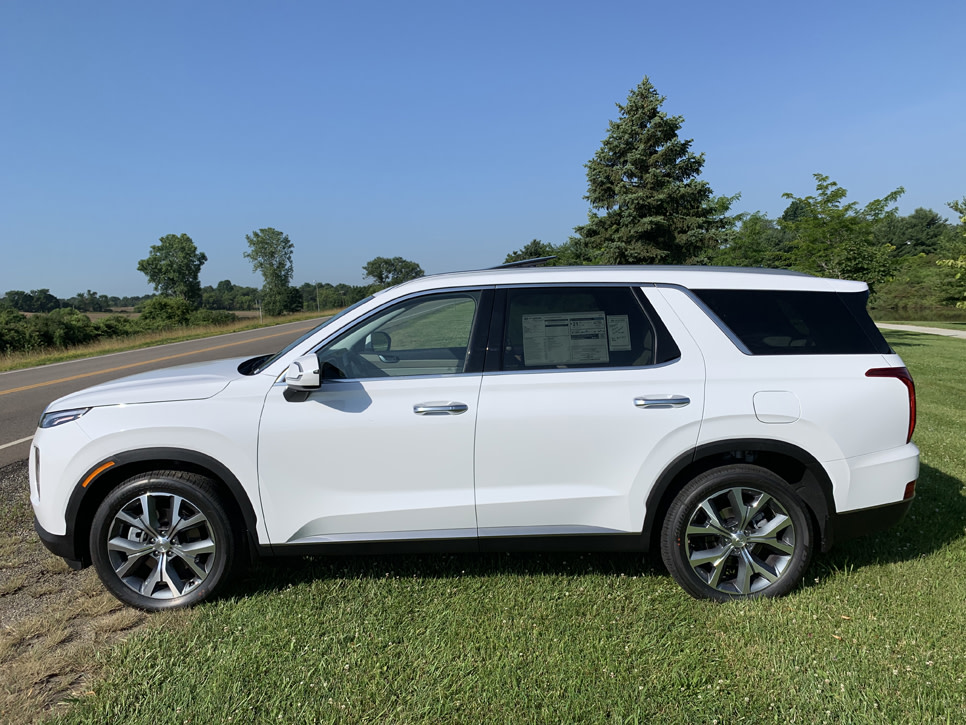 Picture of white Hyundai Palisade from the side view
