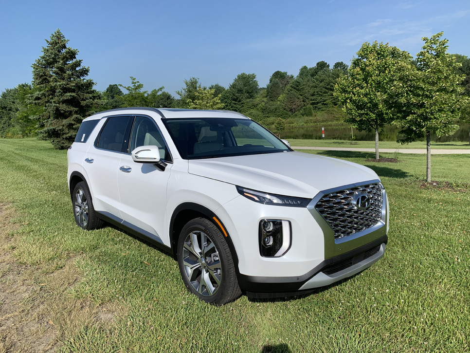 Picture of a white Hyundai Palisade parked in green grass